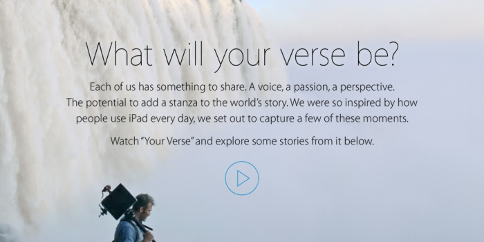 Your Verse Anthem – Nuovo Spot Apple IPad Air